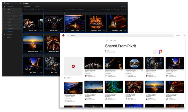pixrit the ultimate social media manager and client gallery platform for photographers pinterest bulk share