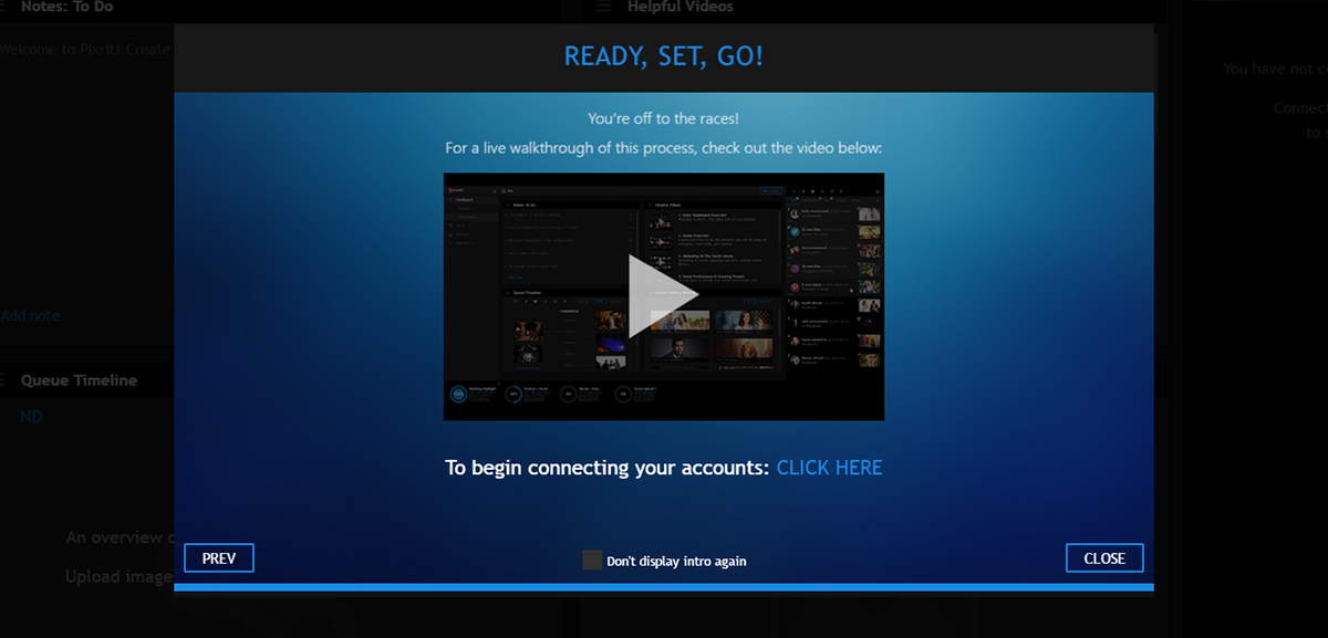 quickstart guide to pixrit the ultimate social media manager for photographers onboarding popup